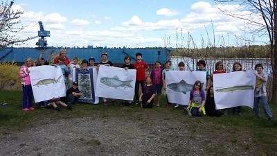 Mrs. Harrison's Class on the mighty Kennebec with FISH
